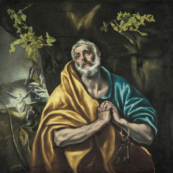 El Greco (Domenico Theotocopuli): St Peter in Penitence/The Tears of St Peter. Religious Fine Art Print/Poster (002036)